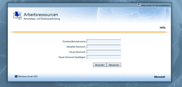 Über die password.aspx erhält man ein Formular zum Ändern des Kennworts.
