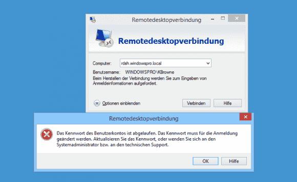 Auch der RDP-Client sieht keine Möglichkeit vor, das Passwort zu erneuern.