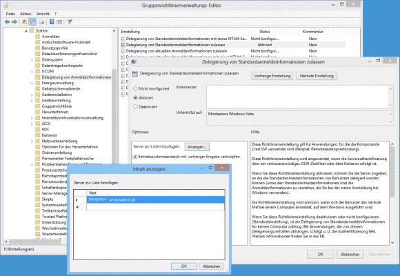 Im Gruppenrichtlinienobjekt kann man alle Server hinterlegen, an die Anmeldedaten durchgereicht werden sollen.