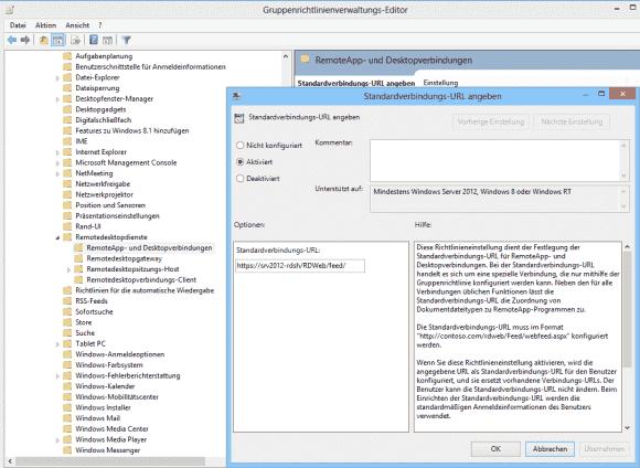 Die Konfiguration einer Standardverbindung über GPOs gilt nur für Clients unter Windows 8.x.