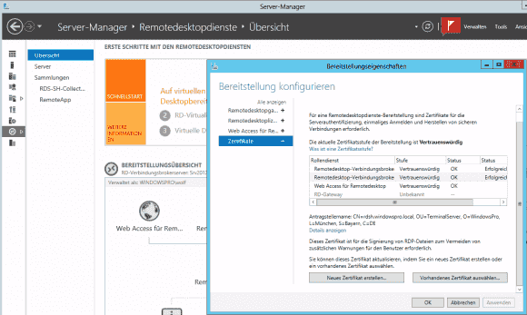 Die Zertifikate für RD Web Access oder RD Gateway kann man im Server Manager zuweisen.