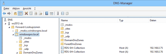 Nach Abschluss der DNS-Konfiguration gibt es mehrere Einträge für die Collection, wobei jeder eine IP eines Session Hosts hat.