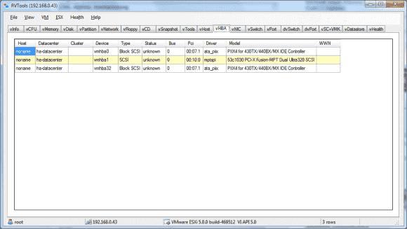 RVTools listet die Systeminformationen von VMware ESX(i) und von VMs in zahlreichen Registerkarten auf.