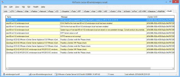Der Health-Check findet nun eine Reihe von Problemen in der vSphere-Konfiguration.