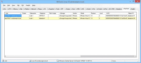 Zu den zahlreichen Registerkarten von RVTools kommen in der Version 3.6 noch neue zu Cluster und Multipath hinzu.