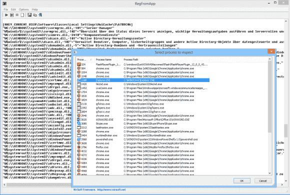 RegFromApp stellt die geänderten Schlüssel im .reg-Format dar.