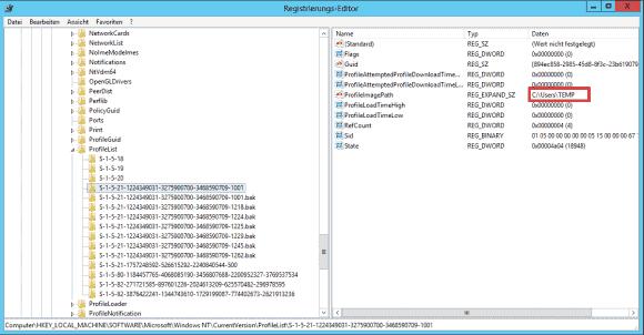 Die Einträge für die ursprünglichen Profile erhalten die Endung .bak. ProfileImagePath gibt normal Aufschluss über den User.