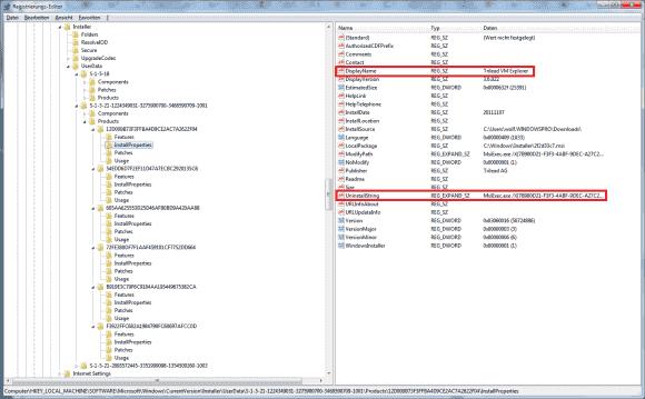 Die meisten Uninstall-Informationen finden sich unter HKLM\\Software\\Microsoft\\Windows\\CurrentVersion\\Installer\\UserData, wo sie nach Benutzer sortiert sind.
