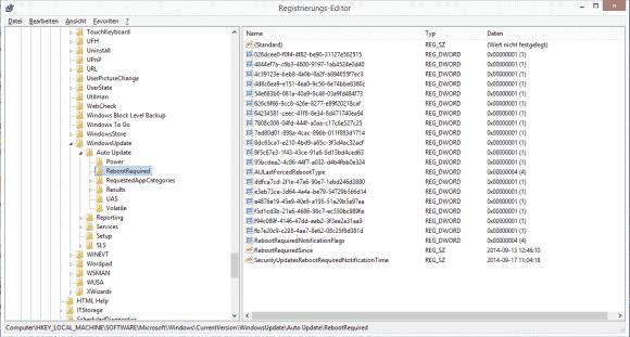 Der Subkey RebootRequired informaiert auch über die Uhrzeit des ausstehenden Reboots.