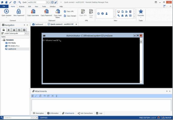 Verbindungen lassen sich entweder innerhalb des Tools oder über einen externen Client aufbauen.
