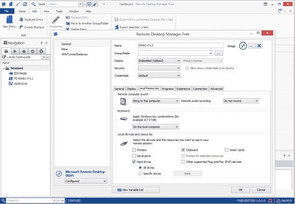 RDP-Verbindungen lassen sich entweder importieren oder vollständig innerhalb des Tools konfigurieren.