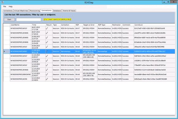Das Remote Desktop Services Diagnostic Tool kann unter anderem die letzten 100 Verbindungen anzeigen und filtern.