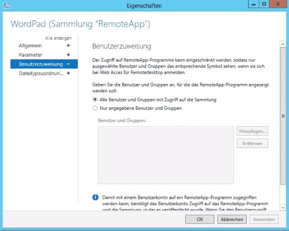 Mit Hilfe der Benutzerzuweisung kann man RemoteApp-Programme nur für ausgewählte User in RD Web Access anzeigen.