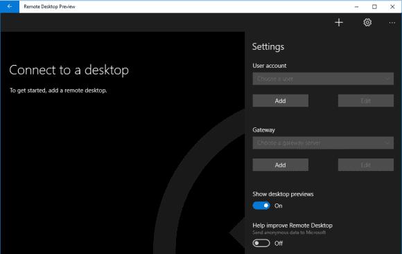 Die allgemeine Konfiguration der Remotedesktop App bietet nur wenige Einstellungen.