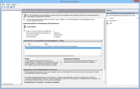 Mit Hilfe der RD-Lizenzierungsdiagnose kann man die Konfiguration des Lizenz-Servers überprüfen.