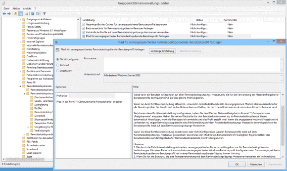Die Einstellungen für die Remotedesktop-Profile lassen auch die zentrale Definition des Pfads zu.