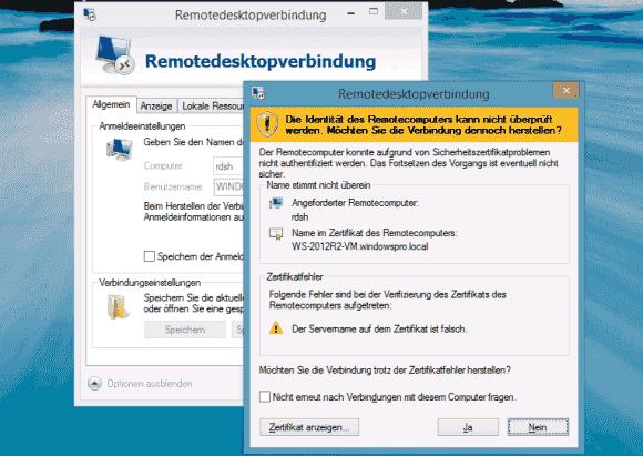 Wenn das Zertifikat auf den Namen des Servers ausgestellt, dann gibt es bei der Verbindung mit der Farm ein Zertifikatsproblem.
