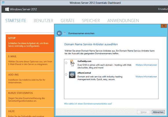 Für die automatische Einrichtung der Domäne enthält die Provider-Liste von Server 2012 Essentials derzeit nur 2 US-Firmen.