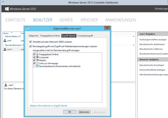Die Rechte für die Funktionen von Zugriff überall lassen sich getrennt und pro Benutzer verwalten.
