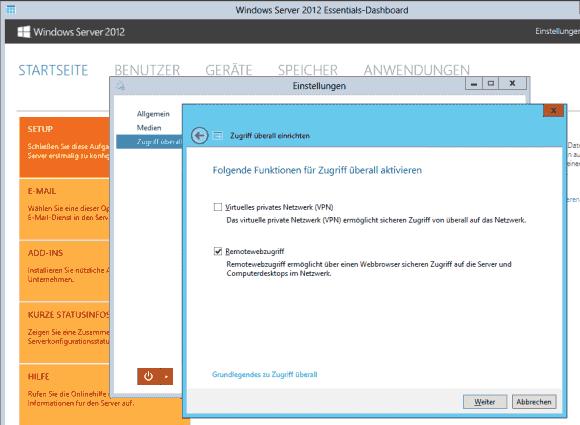 Nach der Konfiguration der Domäne kann man VPN und Remotewebzugriff getrennt installieren.