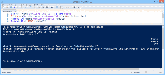 Die Befehle Remove-VM und Remove-Item sollte man erst mit -WhatIf aufrufen.