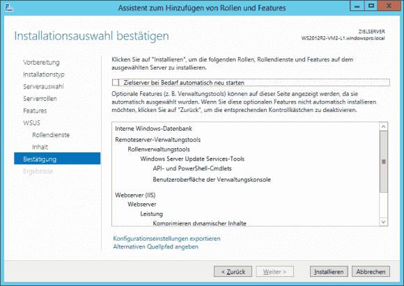 Aus dem Wizard des Server Managers kann man die Konfiguration einer Rolle als XML-Datei exportieren.