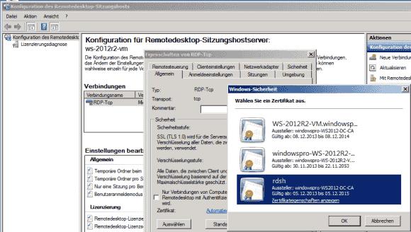 Windows Server 2008 R2 erlaubt die Auswahl von Zertifikaten über eine GUI - auch für Server 2012.