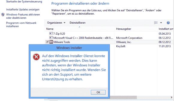 Die Fehlermeldung mit dem Hinweis auf einen nicht richtig installierten Windows-Installer ist irreführend.