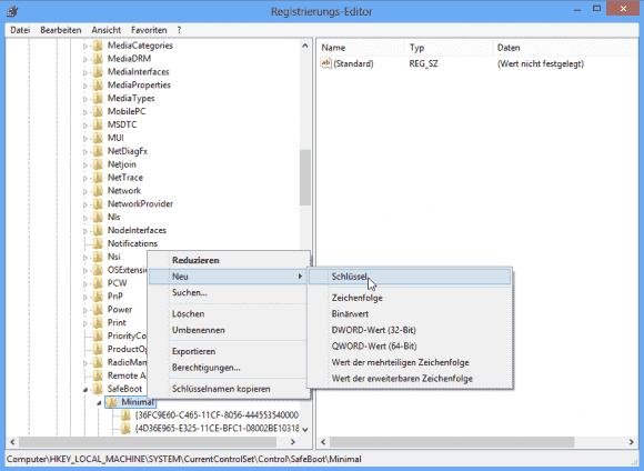Um den Installer im abgesicherten Modus zu aktivieren, muss man einen Registry-Schlüssel namens MSIServer hinzufügen.
