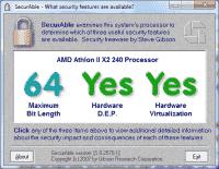 SecurAble prüft CPUs, ob sie 64-Bit-Instruktionen ausführen können und Virtualisierung sowie DEP unterstützen.