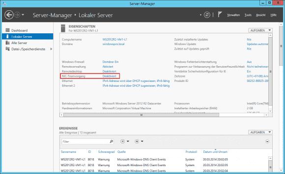 Für NIC-Teaming muss kein Feature hinzugefügt werden, es muss bloß im Server Manager oder per PowerShell aktiviert werden.