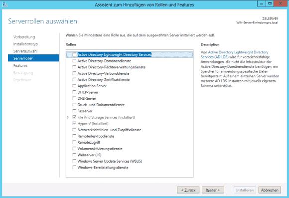 Der Server Manager unter Windows Server 2012 bietet keine separaten Wizards mehr für Rollen und Features.