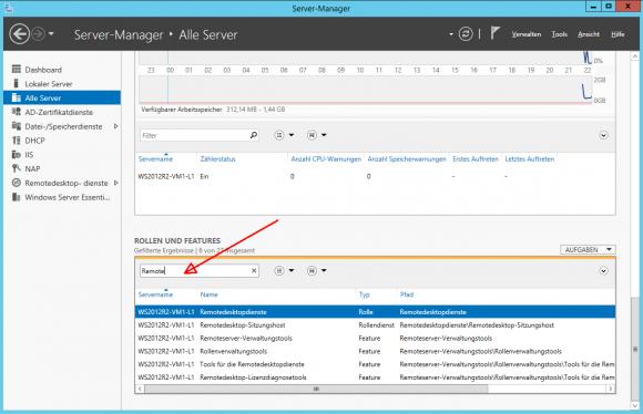 Die Übersicht über installierte Rollen und Features im Server Manager.