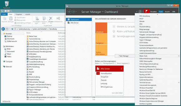 Die lange Liste der Programme im Tools-Menü des Server Manager entspricht jener in der Systemsteuerung unter 'Verwaltung'.