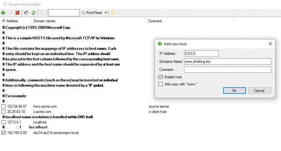 Der Simple Hosts Editor beschränkt sich auf das strukturierte Editieren der Hosts-Datei.