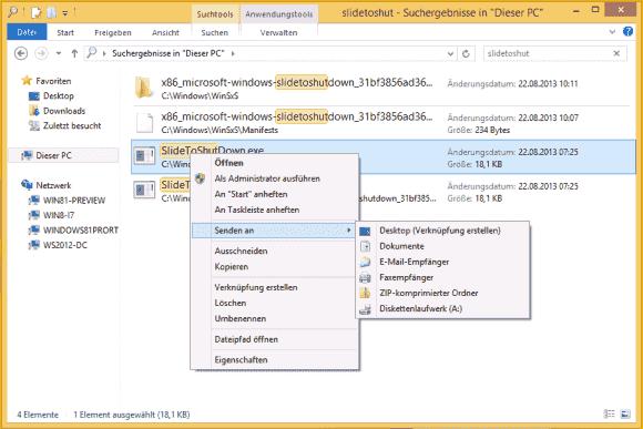 App SlideToShutdown aus dem Explorer zur Startseite, dem Desktop und zur Taskbar hinzufügen.