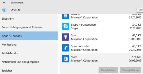 Das Deinstallieren der Store App über die Einstellungen von Windows 10 ist nicht möglich.