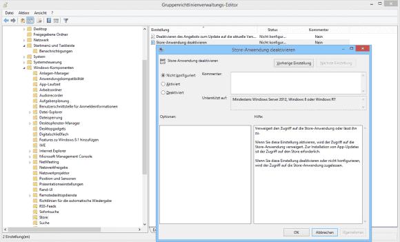 Mit dieser Einstellung kann man die Store App vor dem Update sperren, so dass sie nicht in der Taskbar auftaucht.