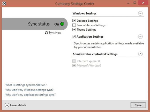 Über das Company Settings Center können die Benutzer die Synchronisierung von Einstellungen steuern.