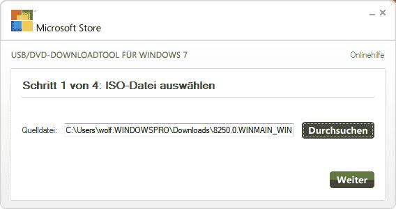 Das Windows 7 USB/DVD Download Tool automatisiert das Erstellen eines USB-Sticks für die Installation von Windows Server 8.