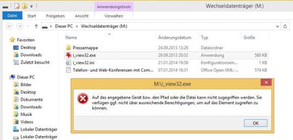 Nach der Anwendung einer entsprechenden GPO können die Benutzer keine Programme von SB-Sticks starten.
