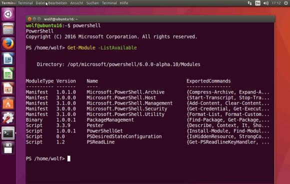 Aktuell unter Linux verfügbare PowerShell-Module