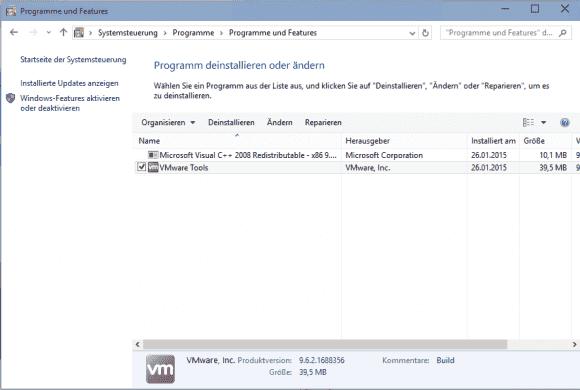 Die VMware Tools lassen sich im Gast wie gewöhnliche Anwendungen entfernen.