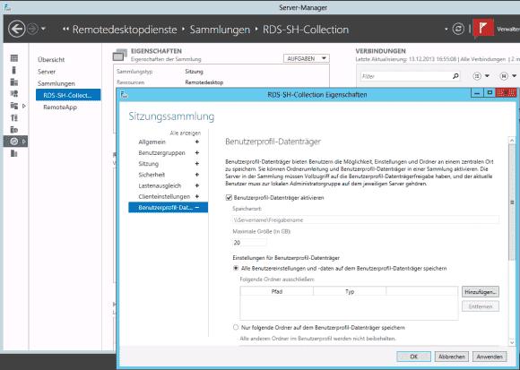 Benutzerprofil-Datenträger sind standardmäßig deaktiviert. Sie lassen sich pro Sammlung konfigurieren.
