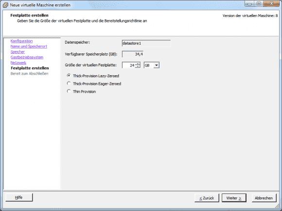 Beim Anlegen einer virtuellen Festplatte muss man sich zwischen 3 Typen entscheiden.