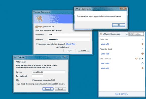 Boomerang erlaubt die gleichzeitige Verbindung zu mehreren ESXi- und vCenter-Servern, unterstützt aber ESXi Free nicht.