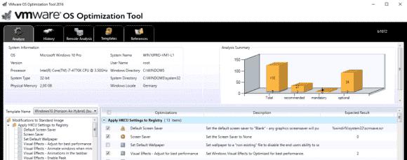 Das OS Optimization Tool schlägt auf Basis von Templates Maßnahmen zur Verschlankung von Windows vor.