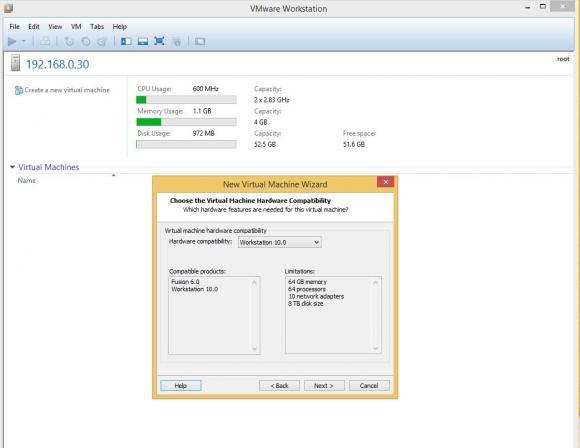 Die VMware Workstation 10 kann VMs unter ESXi 5.5 anlegen und verwalten.