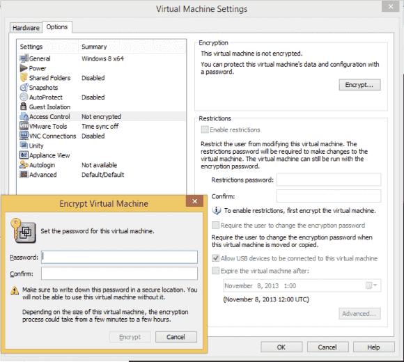 Die VMware Workstation bietet als einziges Produkt verschiedene Mechanismen der Zugriffskontrolle auf VMs.