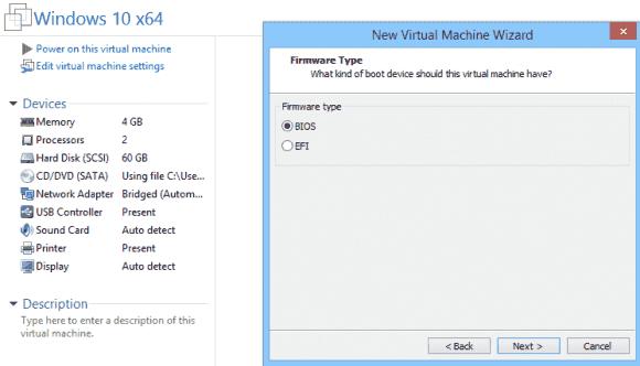 Der Wizard für neue VMs lässt in der Workstation 11 die Wahl zwischen BIOS und UEFI. Diese Einstellung kann man später ändern.